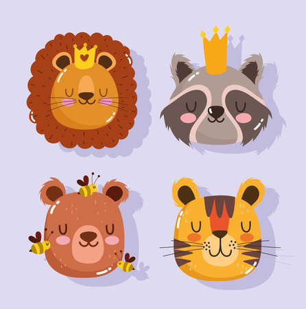 cute lion raccoon tiger bear and bee cartoon animal faces adorable vector illustration