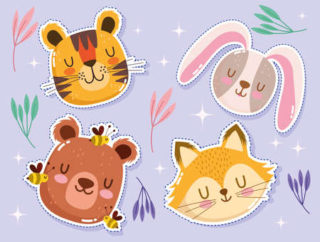 cute cartoon animal face adorable little tiger rabbit fox bear and bees vector illustration