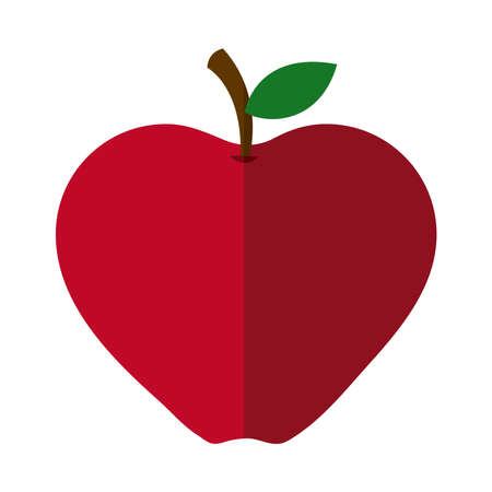 apple fruit fresh nutrition flat icon with shadow vector illustration