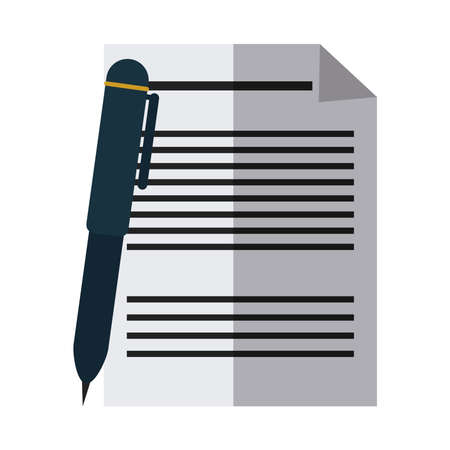 school education sheet and pen write letter flat icon with shadow vector illustration