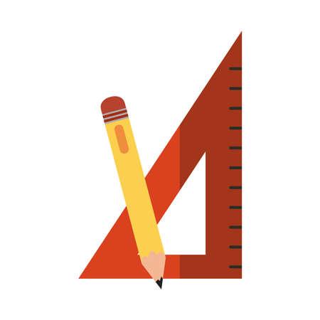 school education triangle ruler and pencil flat icon with shadow vector illustration Ilustración de vector