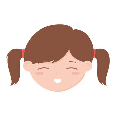 cute face little girl cartoon isolated icon design white background vector illustration