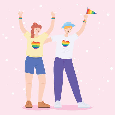 LGBTQ community, young lesbian women celebrating cartoon, gay parade sexual discrimination protest vector illustration