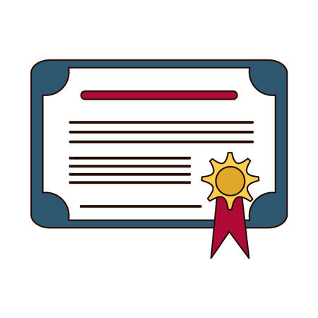 school education success certificate award line and fill style icon vector illustration