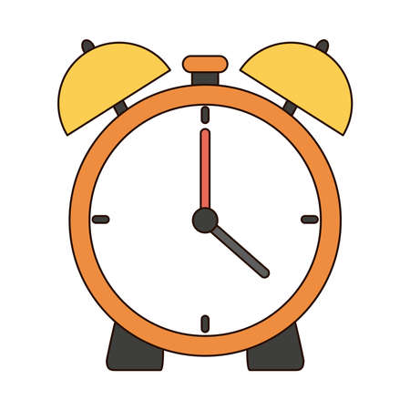 back to school education alarm clock time line and fill style icon vector illustration
