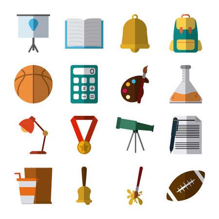 school education knowledge elements flat icons set with shadow vector illustration Ilustración de vector