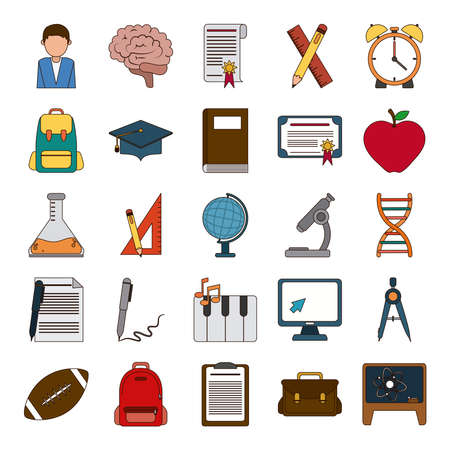 school education knowledge elements flat icons set with shadow vector illustration