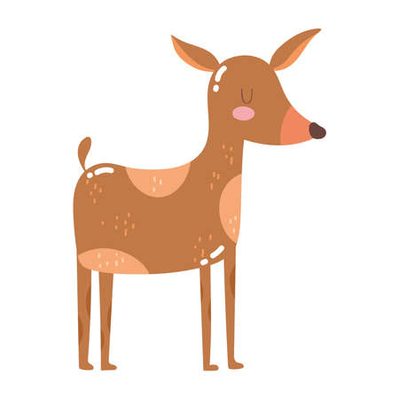 cute animals reindeer cartoon isolated icon design white background vector illustration