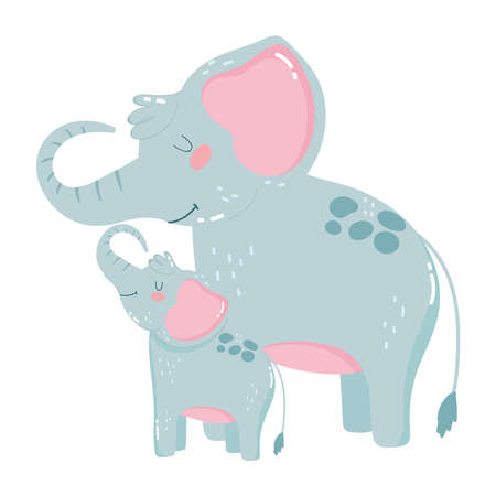 cute animals mom and baby family elephants isolated icon design white background vector illustration