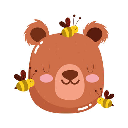 cute animals head bear and bees cartoon isolated icon design white background vector illustration Illustration