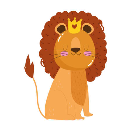 cute animals lion with crown cartoon isolated icon design white background vector illustration