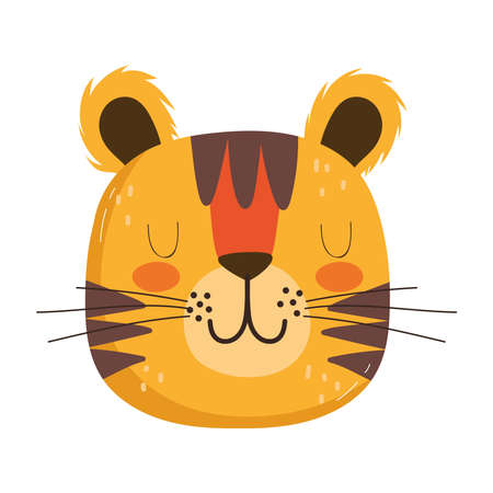 cute animals head tiger cartoon isolated icon design white background vector illustration