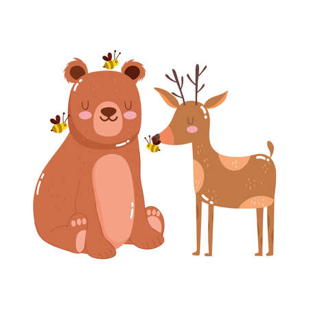 cute animals bear with bees and reindeer nature wild cartoon vector illustration