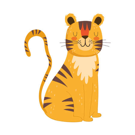 cute animals tiger sitting cartoon isolated icon design white background vector illustration