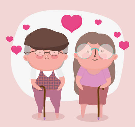 happy grandparents day, cute old couple with walk sticks cartoon vector illustration Ilustrace