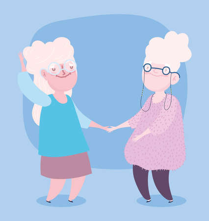 happy grandparents day, cartoon characters two old grandmothers vector illustration