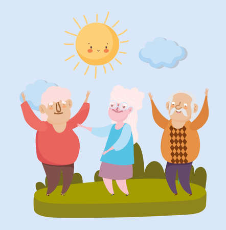 happy grandparents day, old men and woman together in the park vector illustration