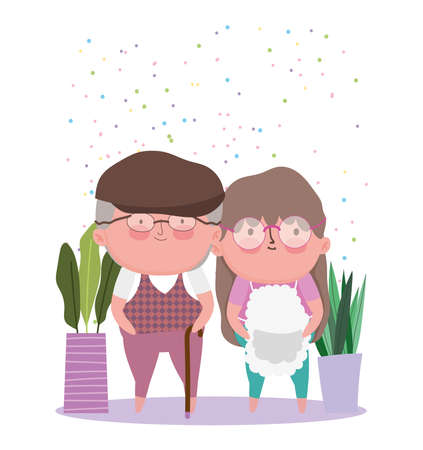 happy grandparents day, cute old couple with potted plants cartoon vector illustration