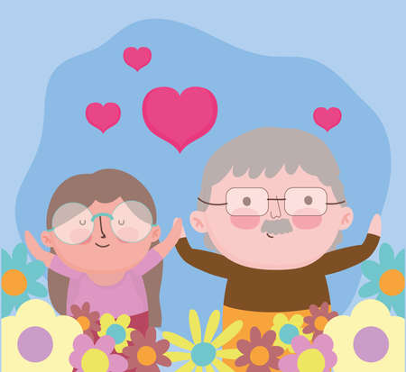 happy grandparents day, cute portrait old couple flowers love hearts cartoon vector illustration