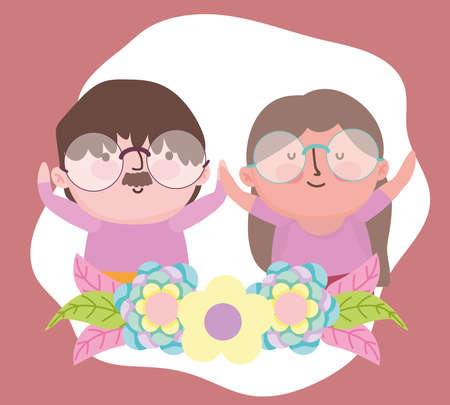 happy grandparents day, cute old couple together flowers cartoon vector illustration Ilustrace