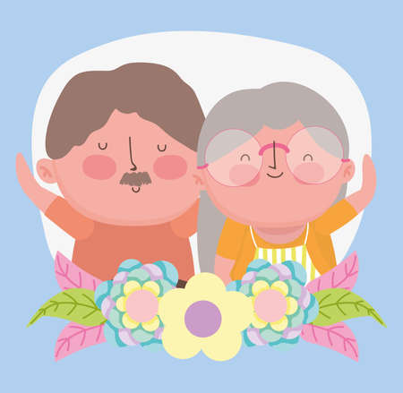 happy grandparents day, old couple flowers portrait cartoon vector illustration