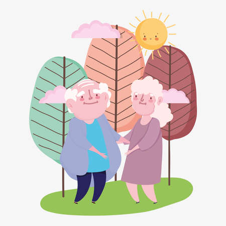 happy grandparents day, elderly couple cartoon, grandfather grandmother holds hands characters vector illustration
