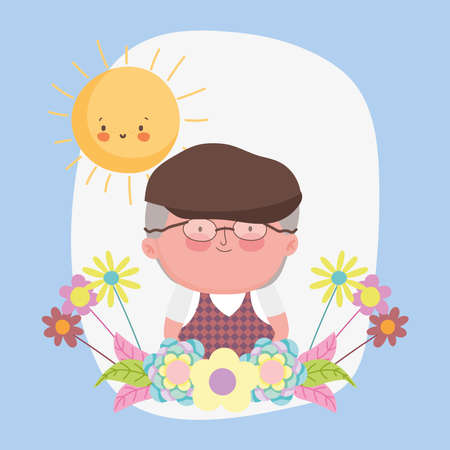 happy grandparents day, grandpa with hat glasses and flowers cartoon vector illustration