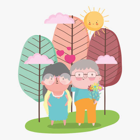 happy grandparents day, elderly couple cartoon, grandfather grandmother characters vector illustration