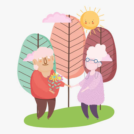 happy grandparents day, elderly couple flowers cartoon, grandfather grandmother characters vector illustration 向量圖像