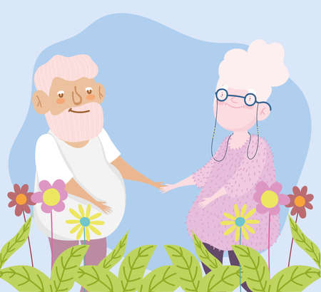 happy grandparents day, elderly couple with flowers foliage nature cartoon vector illustration
