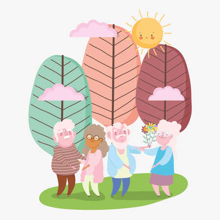 happy grandparents day, two couples old grandpa and grandma with flowers in park cartoon vector illustration