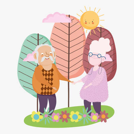 happy grandparents day, grandpa and grandma standing together landscape flowers trees cartoon vector illustration 向量圖像
