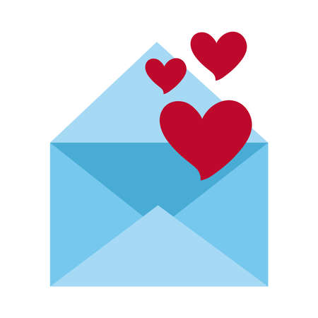 fallings hearts in envelope message love romantic passion feeling flat style icon vector illustration