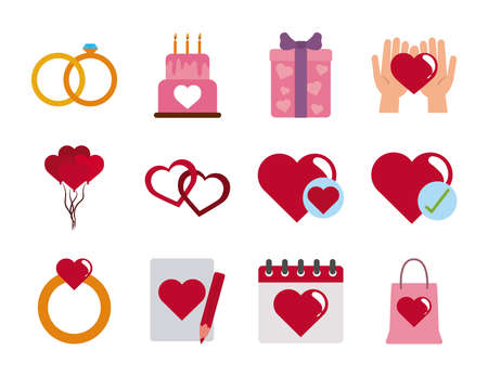 love heart romantic passion feeling message flat style icons set vector illustration