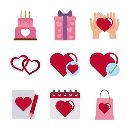 love heart romantic passion feeling message flat style icons set vector illustration Vektoros illusztráció