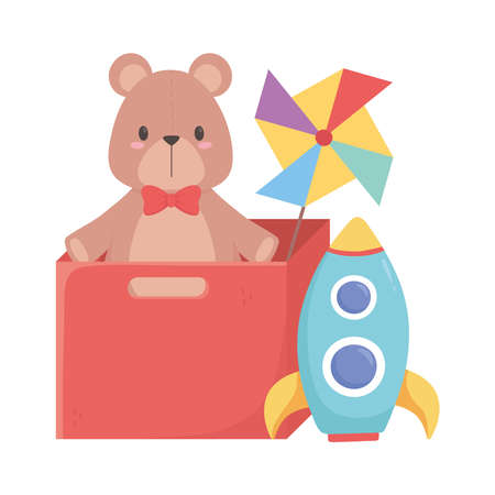 kids toys box with teddy bear pinwheel and rocket isolated icon design white background vector illustration