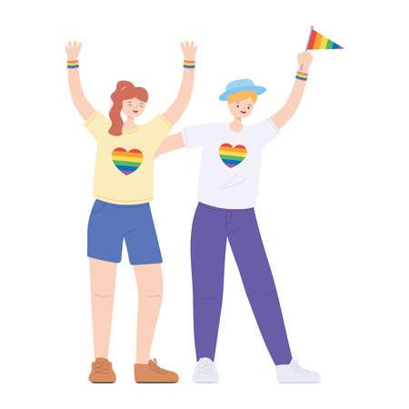 LGBTQ community, young lesbian women celebrating cartoon, gay parade sexual discrimination protest vector illustration Zdjęcie Seryjne - 152441384