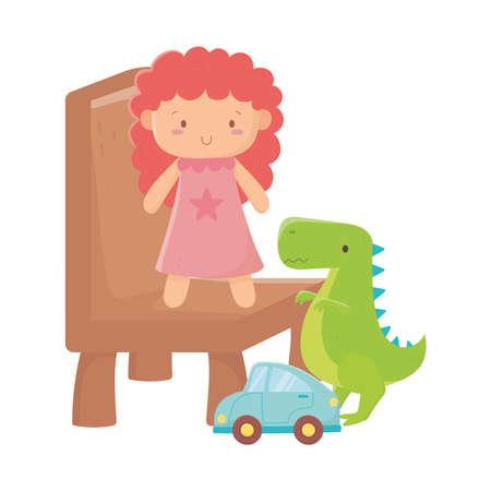 kids toys doll on chair dinosaur and car object amusing cartoon vector illustration Vetores