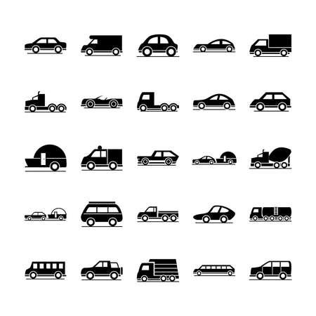 car model construction passenger public service transport vehicle silhouette style icons set design vector illustration