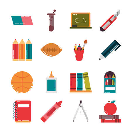 school education supply class stationery flat style icons set vector illustration