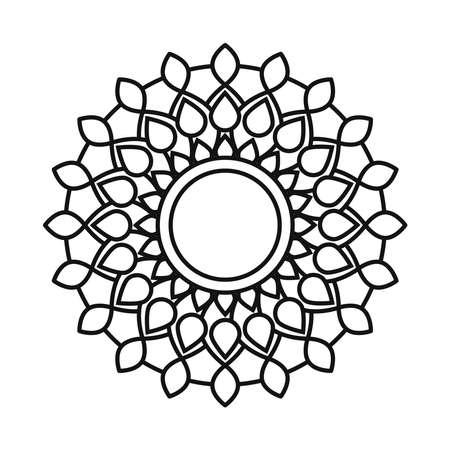 mandala decorative ornament ethnic oriental line style icon vector illustration