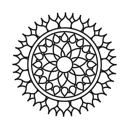 mandala flower decoration round ornament line style icon vector illustration