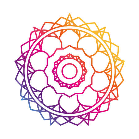 mandala flower decoration round ornament gradient style icon vector illustration
