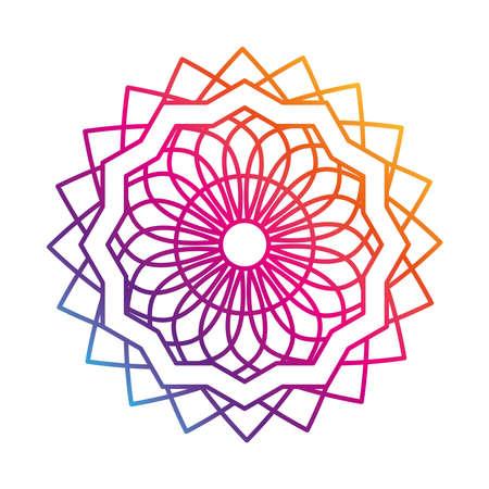 mandala decorative ornament ethnic oriental gradient style icon vector illustration