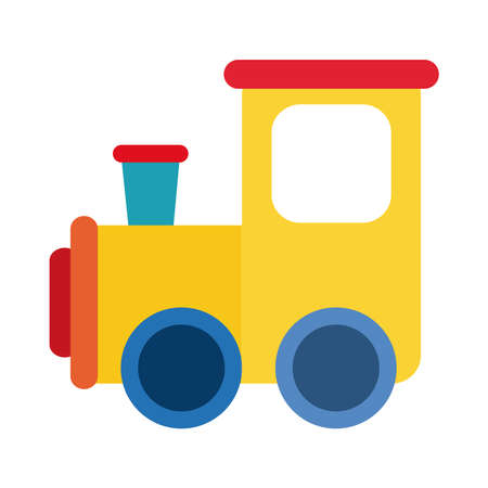 cartoon train toy object for small children to play, flat style icon vector illustration Illustration