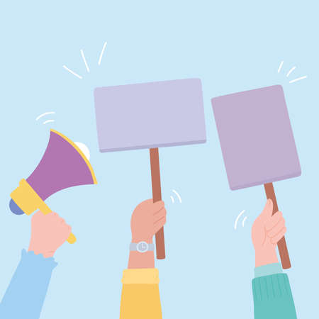 manifestation protest activists, raised hands with megaphone and placards vector illustration