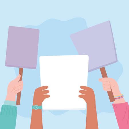 manifestation protest activists, group hands with billboards social protester vector illustration