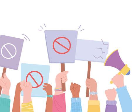 manifestation protest activists, hands up holding prohibition sign and megaphone vector illustration