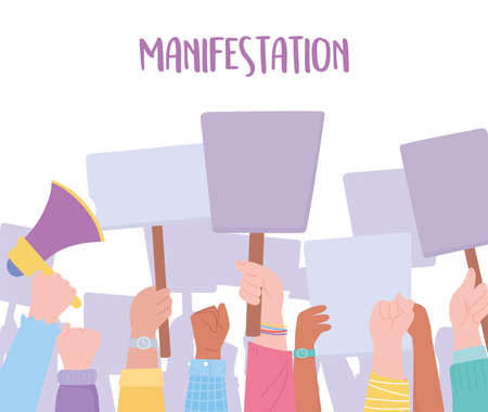 manifestation protest activists, crowd of people raising hands using a megaphone and placards vector illustration