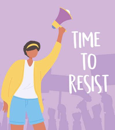 manifestation protest, young woman holding megaphone activist vector illustration